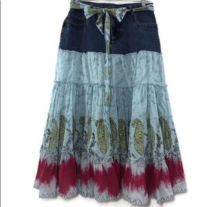 Dalia Casual Denim Boho Gypsy Skirt